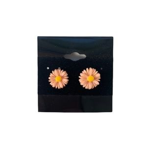 Pink Daisy Floral Stud Statement Earrings New